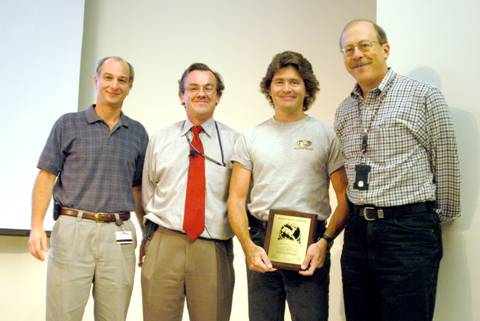 Scott Benes (second from right; ASD-CTL) receives his Supervisor of the Year  award from (left) Ned Arnold (ASD-CTL Group Leader), Murray Gibson, and  (right) Rod Gerig (ASD Division Director).