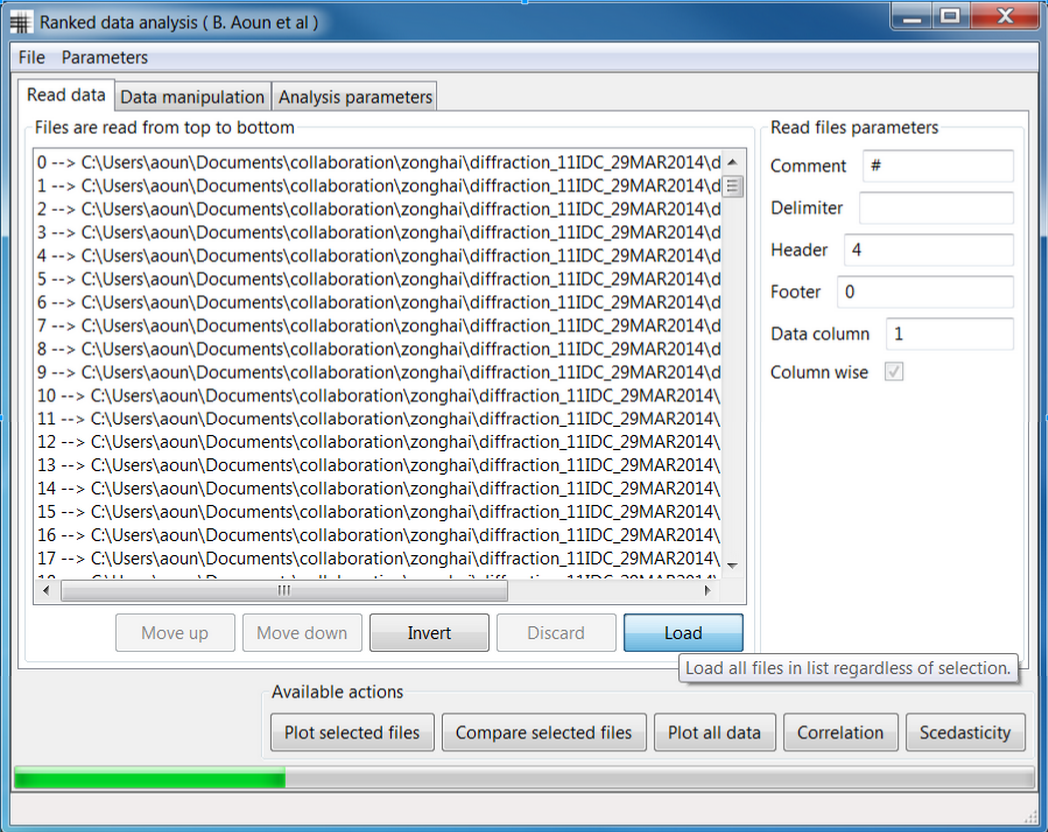 Main graphic interface for the package running on a Windows 7 computer