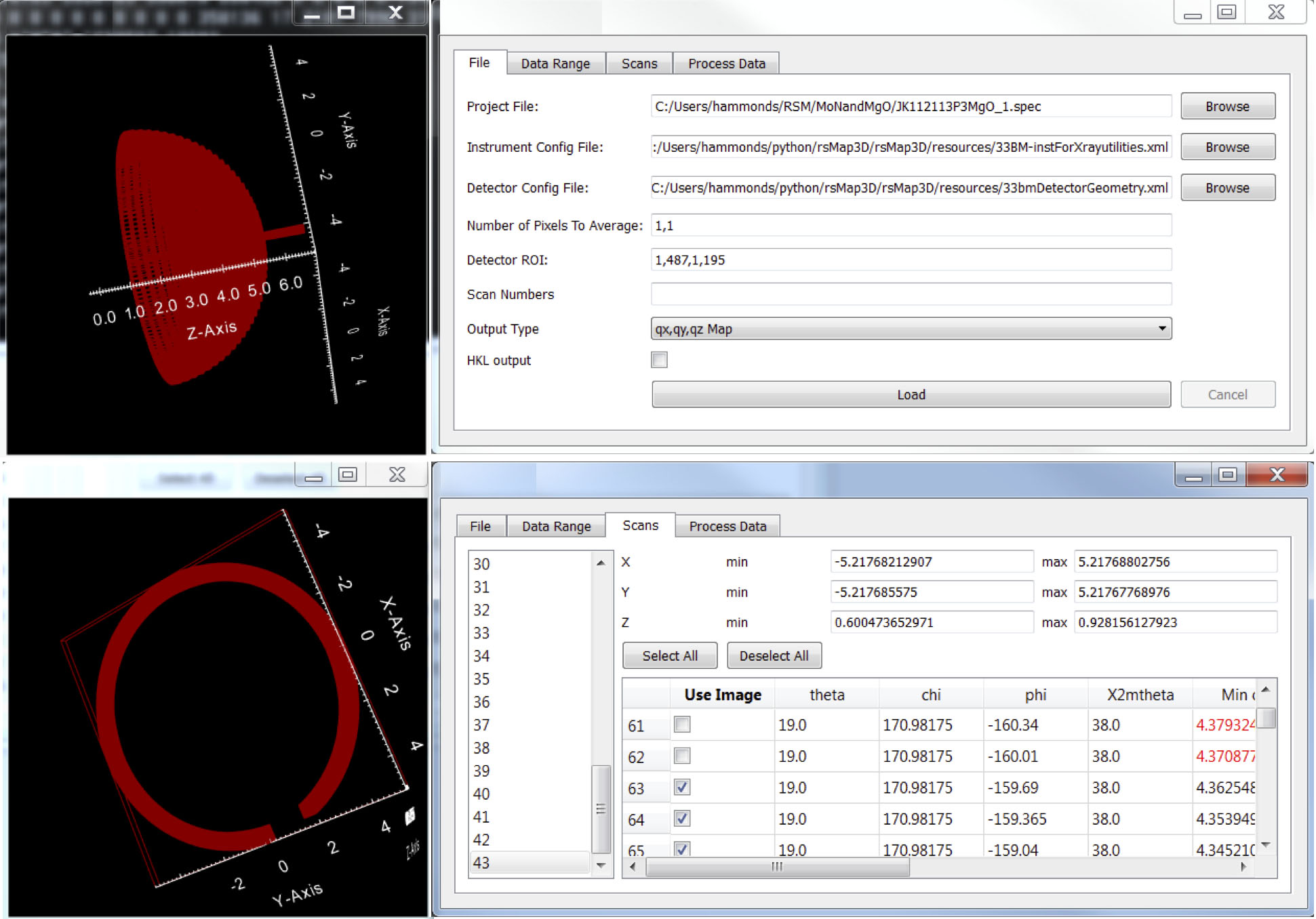 Fig. 1. RSMap3D user interface. Top: Interactive view of the full scan space imported from acquisition data given in the dialog to the right. Via the interface users select scan geometry and image files, and instrument configuration settings. Bottom: View