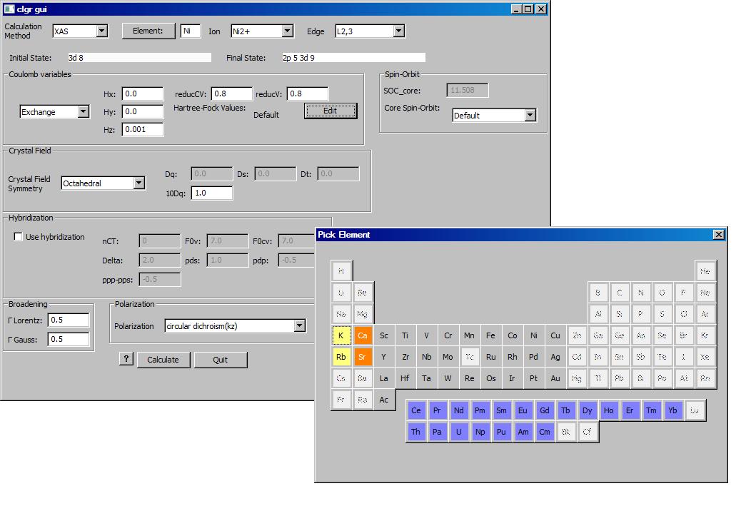 Main Xclaim input window and periodic table pop-up