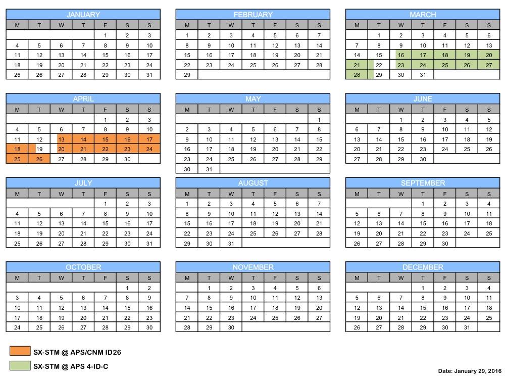 SX-STM schedule 2016