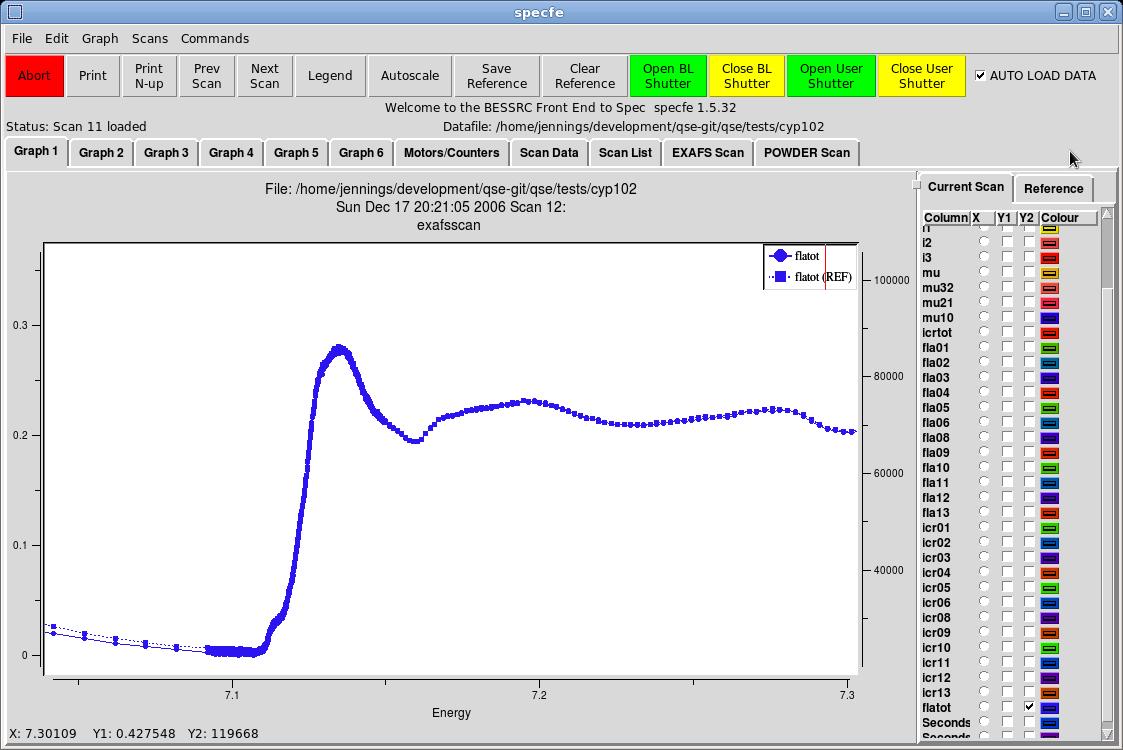 SPECFE Screen image