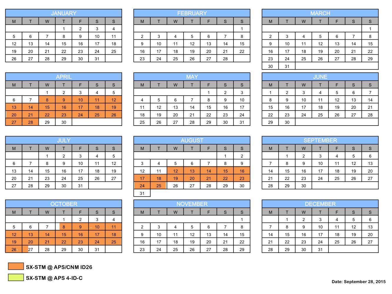 SX-STM schedule 2015